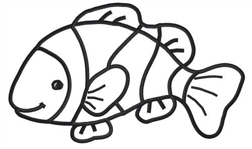 500x296 Drawn Fishing Outline Drawing