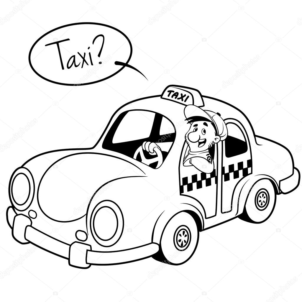 1024x1024 Taxi Driver In The Car. Outline On A White Background Stock