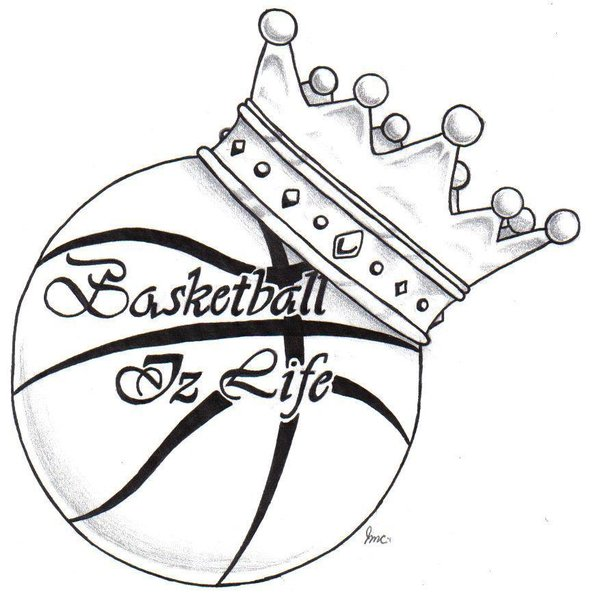 600x603 Black Outline Crown With Basketball Tattoo Stencil By Julie