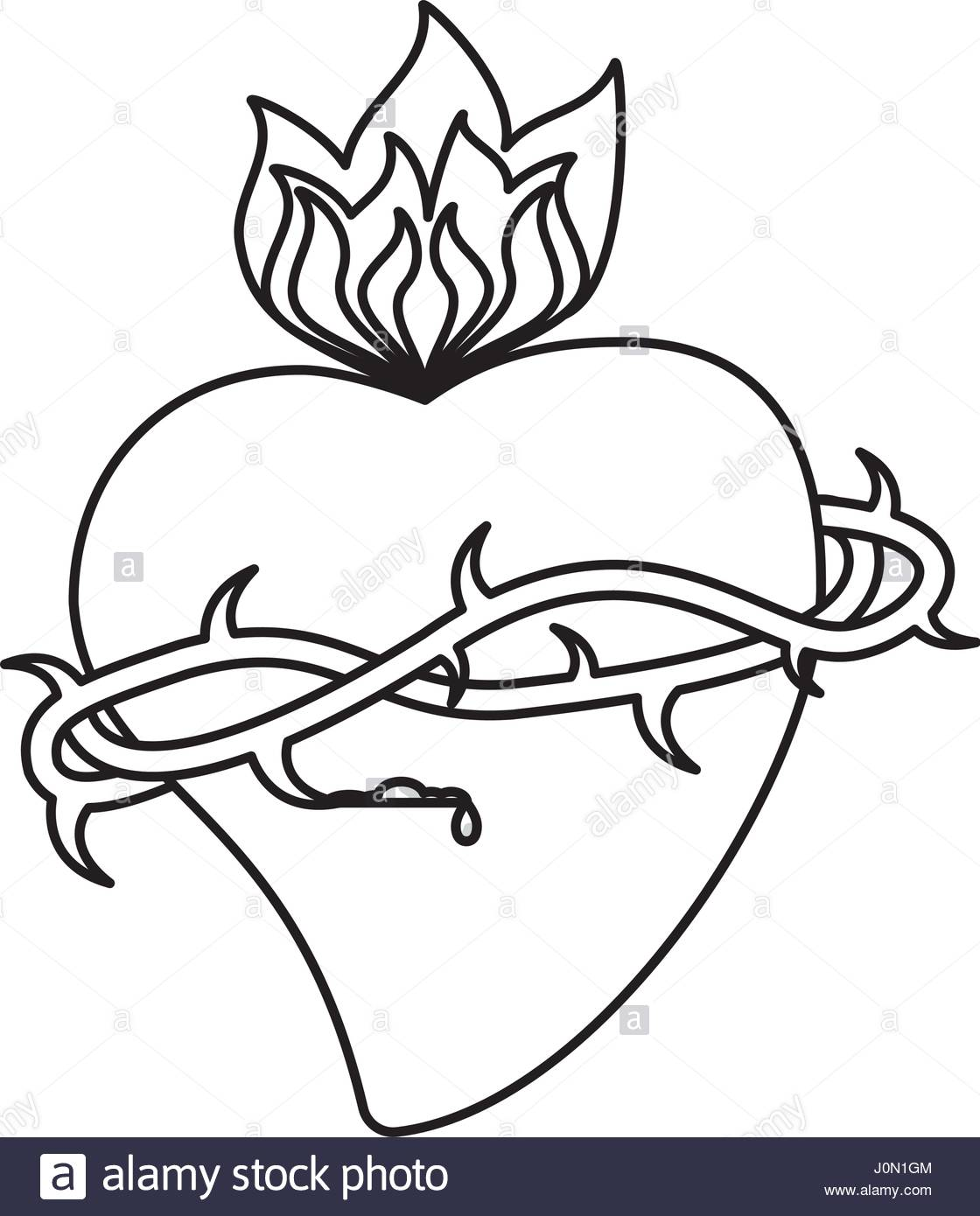 1120x1390 Sacred Heart Crown Flame Outline Stock Vector Art Amp Illustration