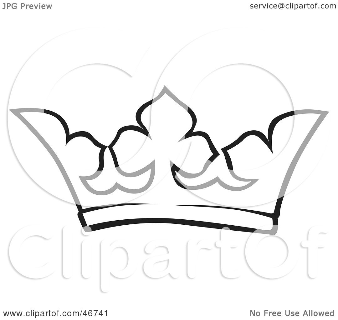 1080x1024 Clipart Illustration Of A Black And White Crown Outline By Dero