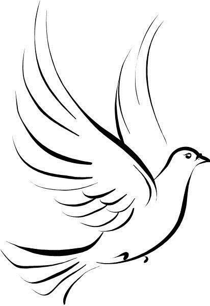 412x600 Tribal Outline Peace Dove Tattoo Design