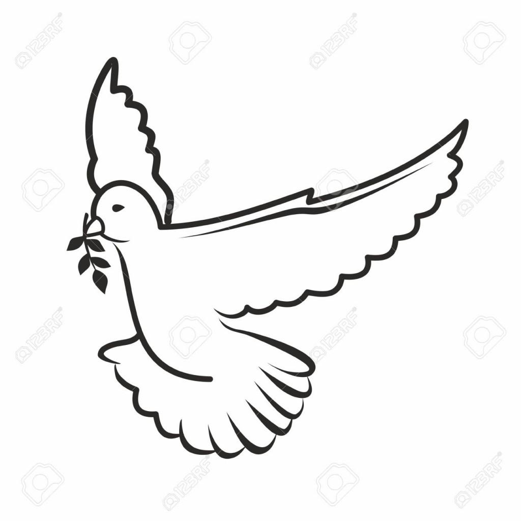1024x1024 White Dove Clipart Dove Outline