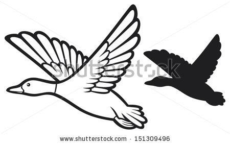 450x282 Flying Mallard Duck Outline