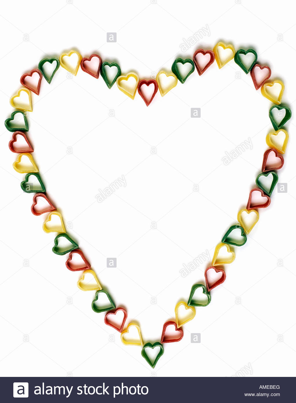 1021x1390 Individual Coloured Heart Shaped Pasta Arranged In The Outline