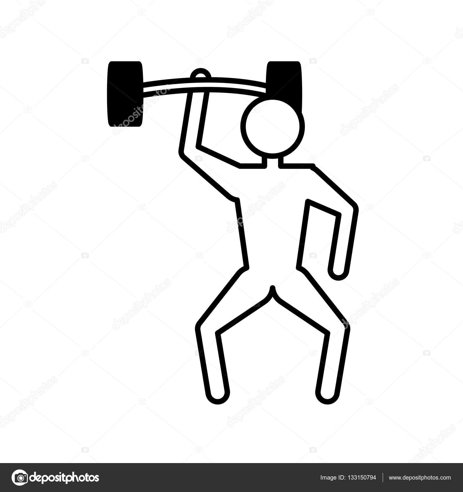 1600x1700 Outline Man Weight Lifting Barbell Stock Vector Djv