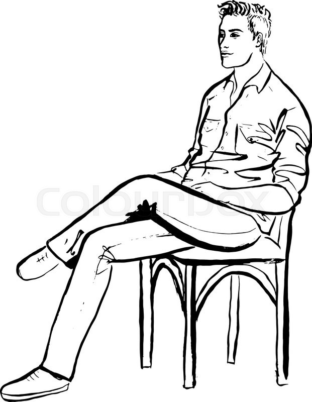 621x800 Fashion Outline Illustration Of Man Sitting In Cafe. Ink Hand