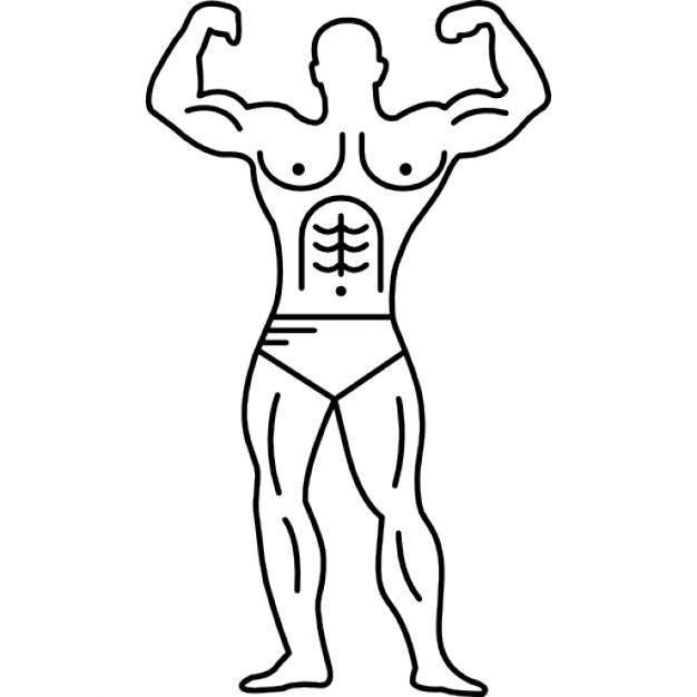 626x626 Muscular Outline Of A Bodybuilder Flexing Icons Free Download