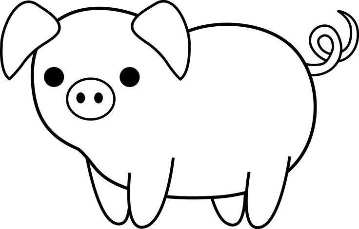 736x471 Cute Pig Clipart Black And White