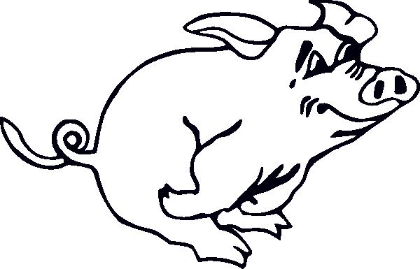 600x385 Outline Running Pig Clip Art