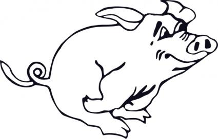 425x272 Outline Running Pig Clip Art Vector, Free Vectors