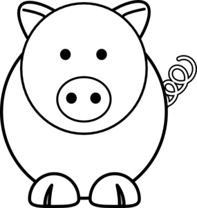 285x300 Pig Outline Clip Art