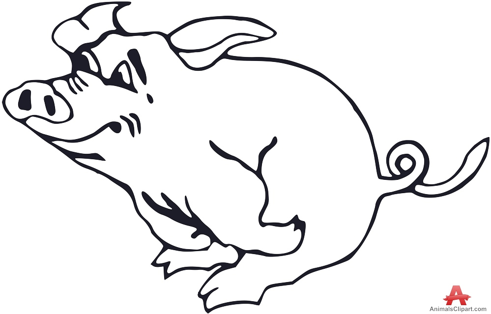 999x639 Running Happy Pig Outline Vector Clipart Free Clipart Design