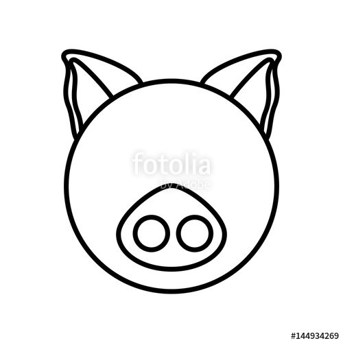 500x500 Outline Pig Head Animal Vector Illustration Eps 10 Stock Image