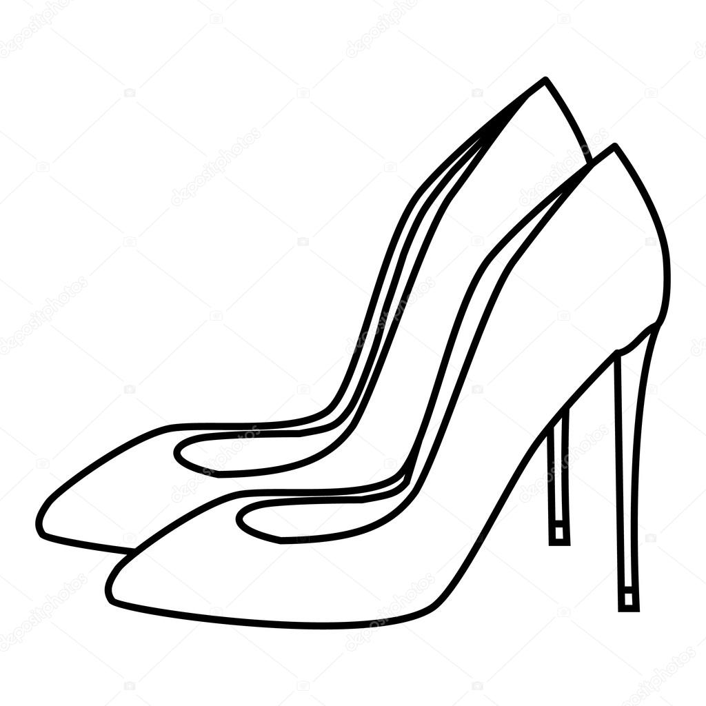 1024x1024 High Heel Shoes Icon, Outline Style Stock Vector Ylivdesign