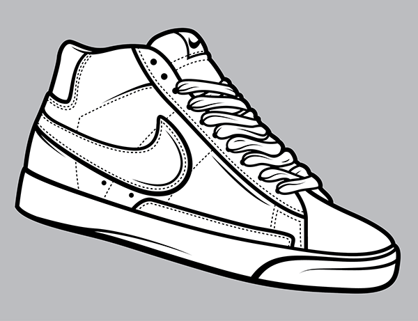 600x461 Nike Clipart Shoe Outline