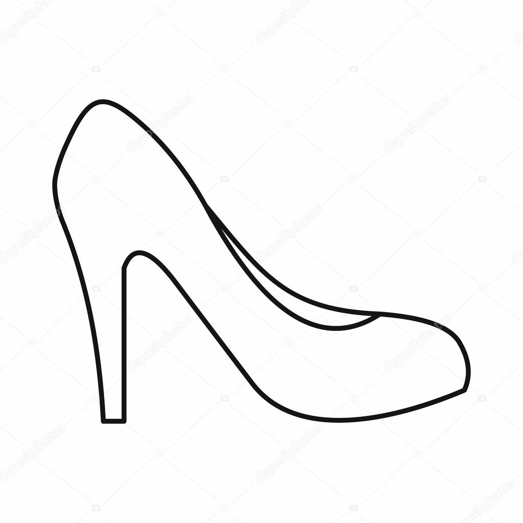 1024x1024 Women Shoe With Heels Icon, Outline Style Stock Vector