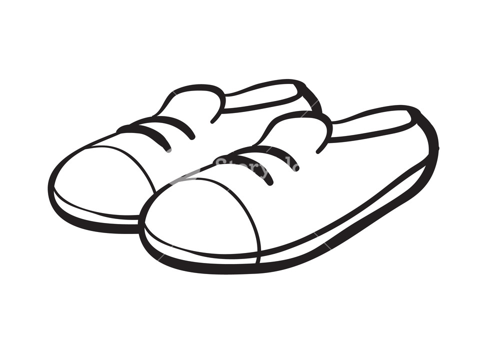 1000x674 Illustration Of A Shoe Outline On A White Background Royalty Free