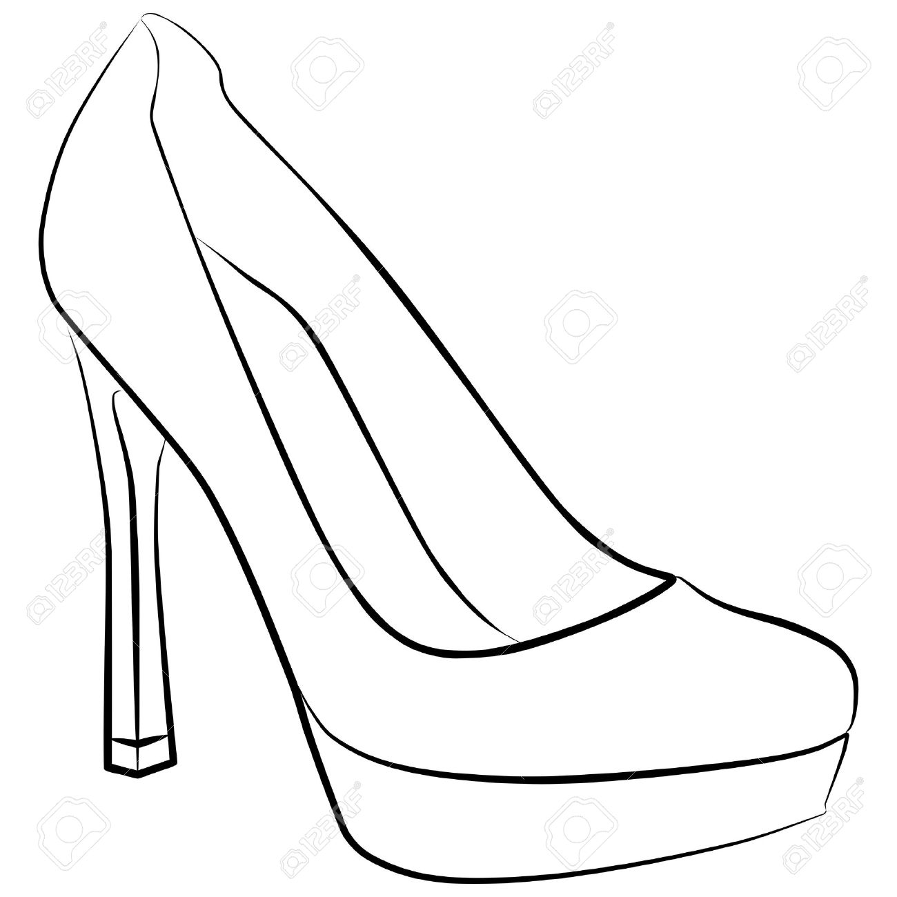 1300x1300 Drawn Shoe High Heel