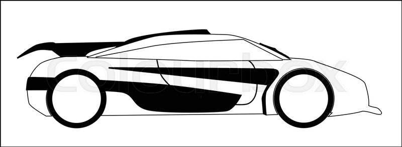 800x294 Car Silhouette Logo Sketch The Vector Illustration Stock Vector