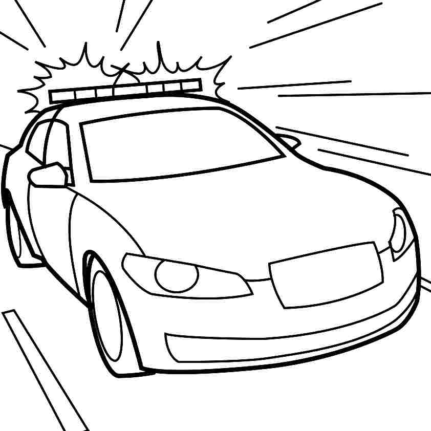 842x842 Clipart Police Car Outline