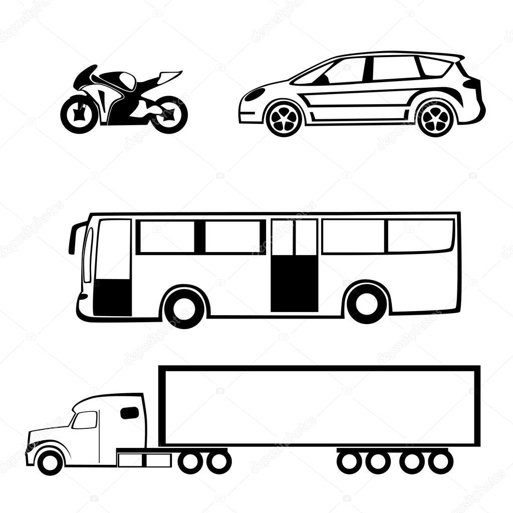 1024x1024 Bike Car Bus Truck Stock Vector Tiptop315