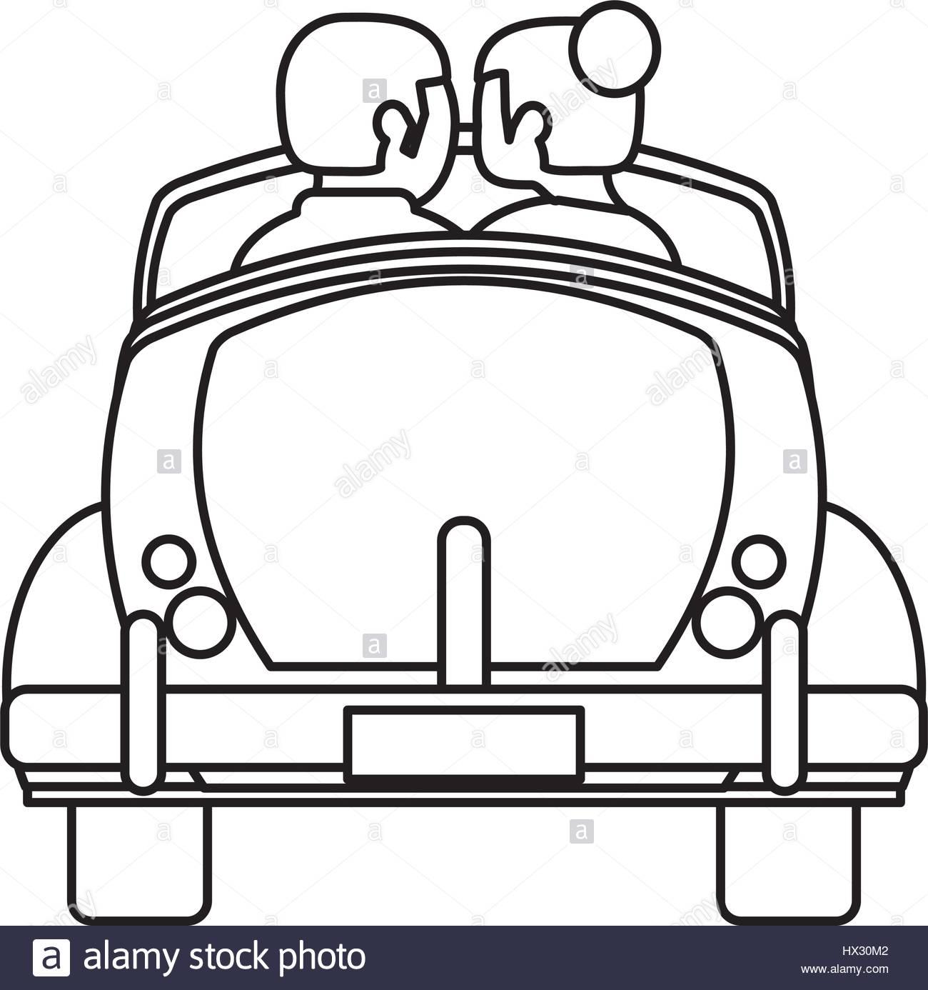 1300x1386 Couple Car Honeymoon Travel Outline Stock Vector Art