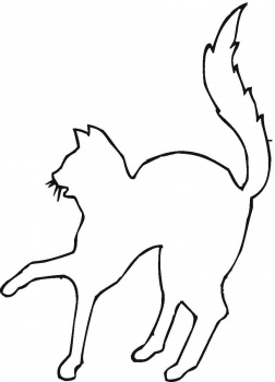 252x350 Halloween Cat Outline Clipart