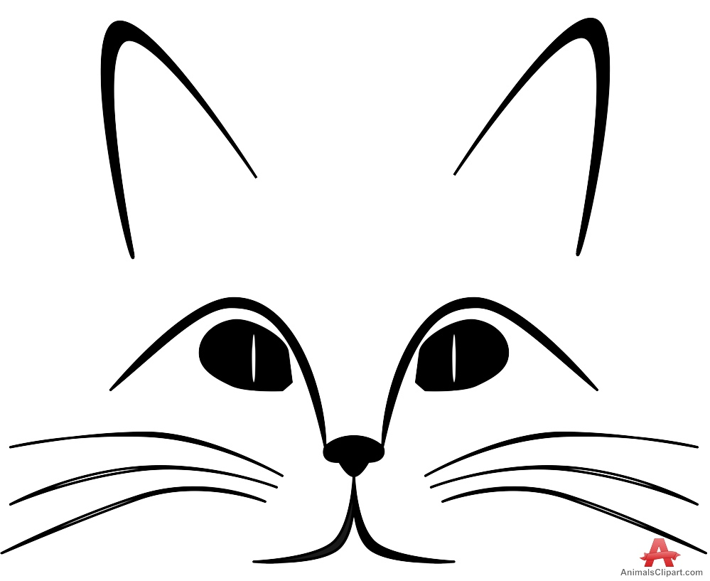 999x817 Outline Drawing Of Cat Face Free Clipart Design Download