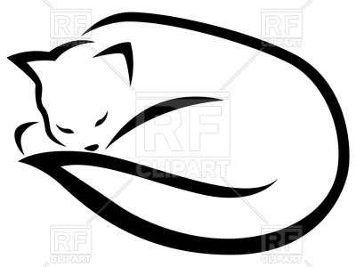 400x300 Outline Of Sleeping Black Cat Royalty Free Vector Clip Art Image