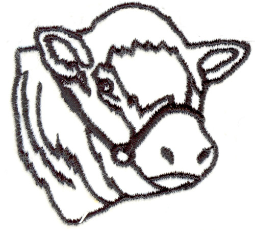 500x458 Cow Head Outline Embroidery Designs, Machine Embroidery Designs