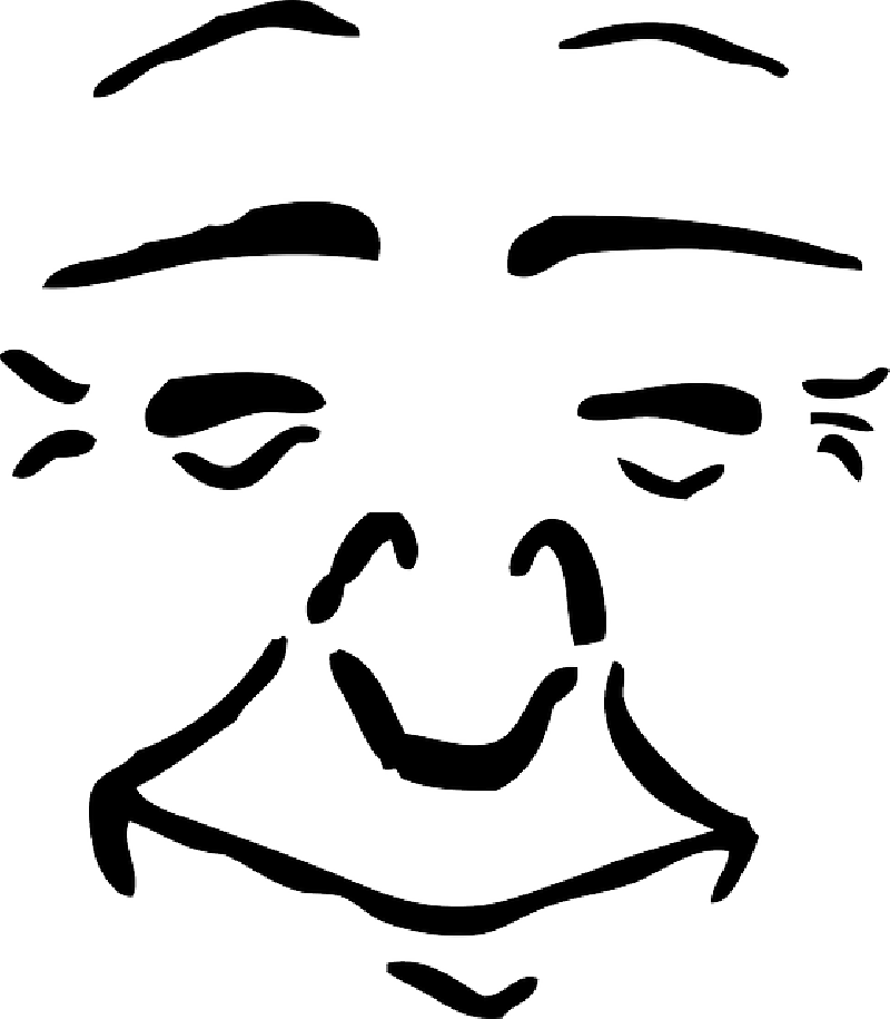 800x915 Outline, Face, Cartoon, Feelings, Contentment