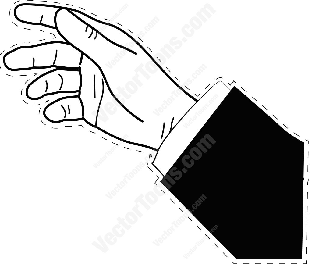 1024x866 Hand On An Angle With Dotted Outline Cartoon Clipart