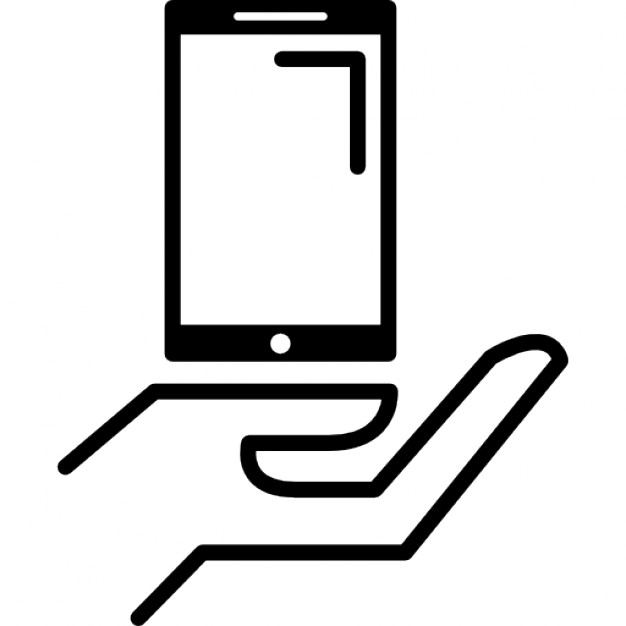 626x626 Open Hand Outline Holding Cellphone Icons Free Download