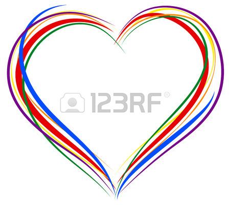 450x400 Lgbt Heart Symbol. Sign Of Heart Outline. Rainbow Heart