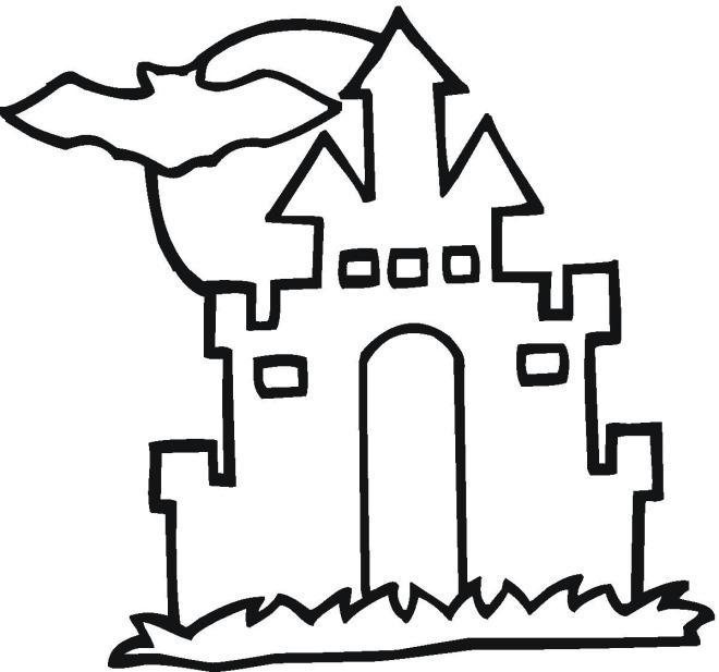 660x617 Haunted House Coloring Pages