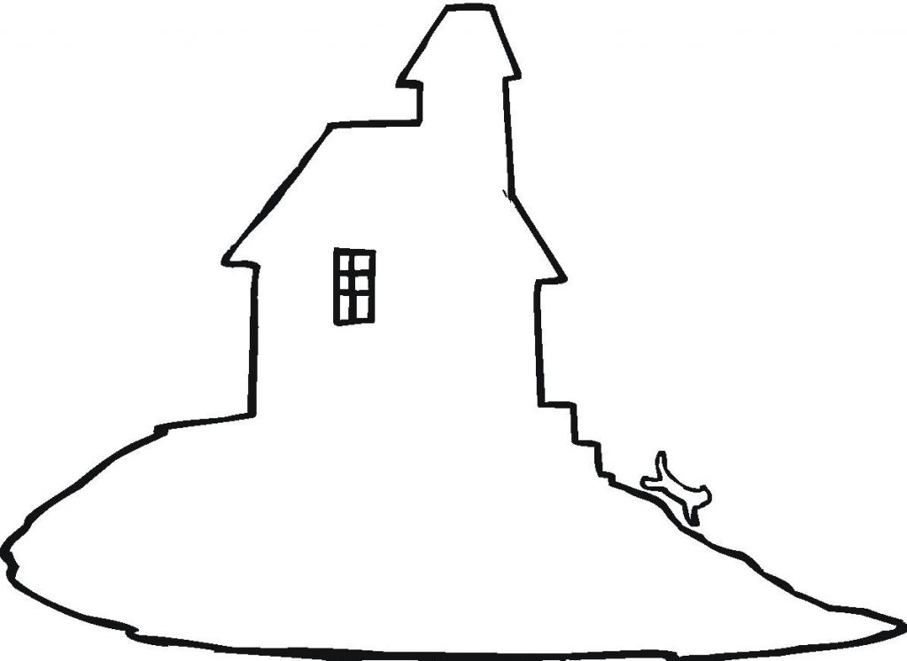 1024x746 Haunted House Outline Clip Art