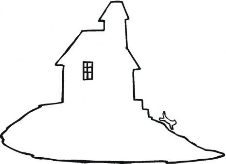 465x339 Haunted House Outline Coloring Clipart Panda
