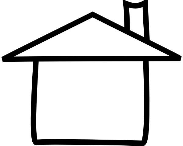 600x480 House Outline Clipart Black And White Free 2