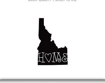 340x270 Idaho State Silhouette Outline Graphic Cut Files Included