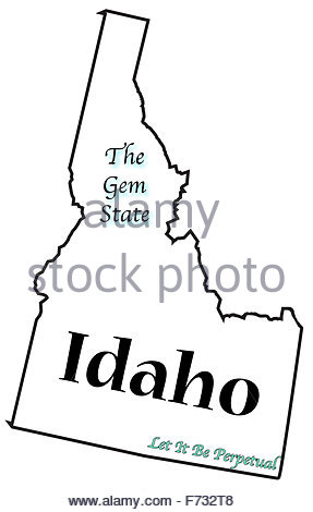 287x470n Idaho State Outline With The Date Of Statehood Isolated On