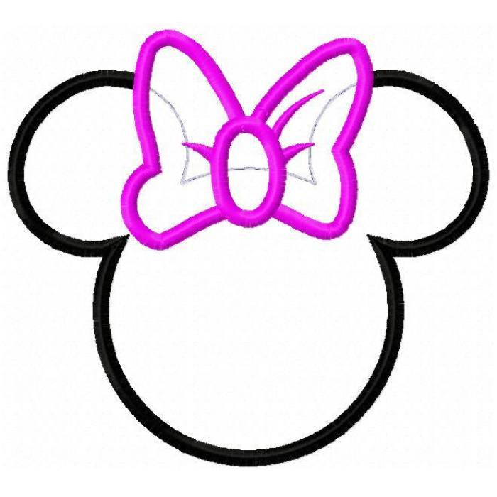 700x700 Mouse Head Silhouette With Bow