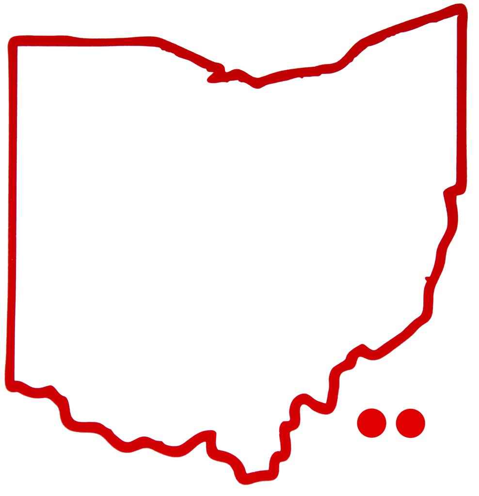 988x1024 Ohio Outline Hometown Dot Sticker Red Bop Be Ohio Proud