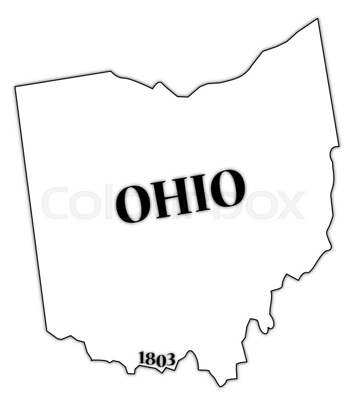 700x800n Ohio State Outline With The Date Of Statehood Isolated On