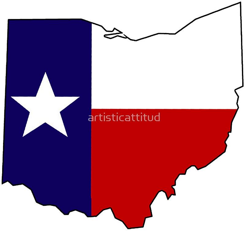 800x755 Texas Flag Ohio Outline Stickers By Artisticattitud Redbubble