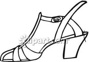 300x207 Outline Of A Woman's Dress Shoe Royalty Free Clipart Picture