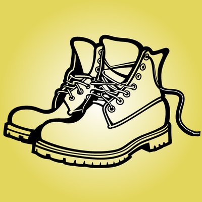 400x400 Pair Of Fat Sole Outline Boots, Vector File
