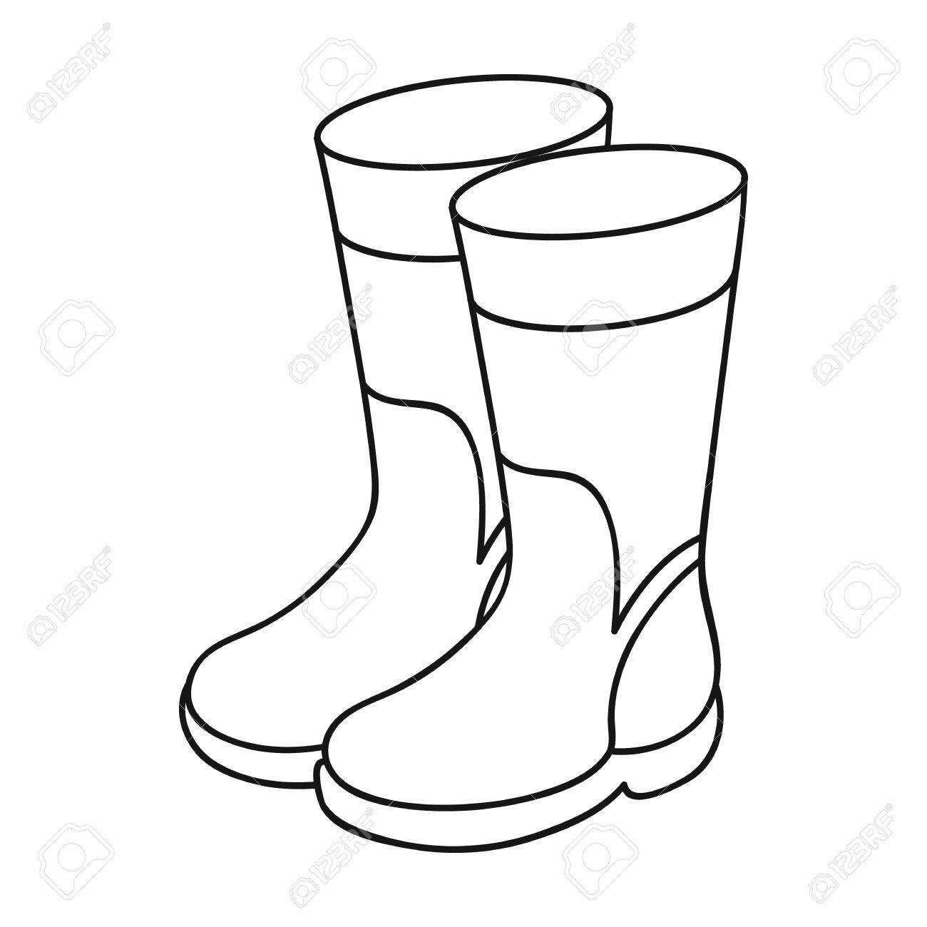 1300x1300 Rubber Boots Icon In Outline Style Isolated On White Background
