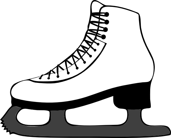 600x483 Black And White Shoe Skating Clipart