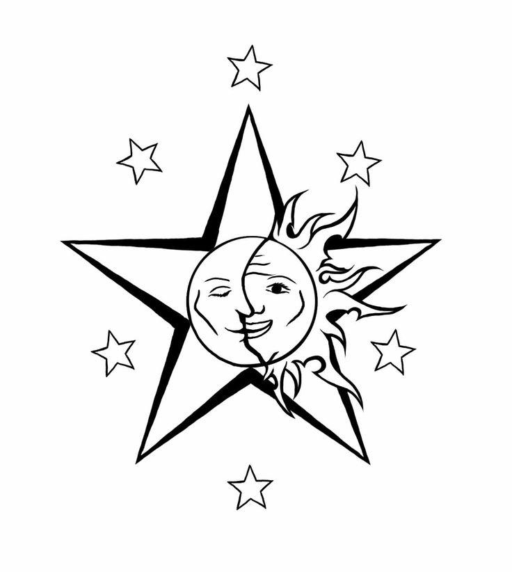 736x822 Outline Stars And Sun Moon Tattoo Design